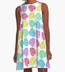 Rainbow Monstera Deliciosa A-Line Dress