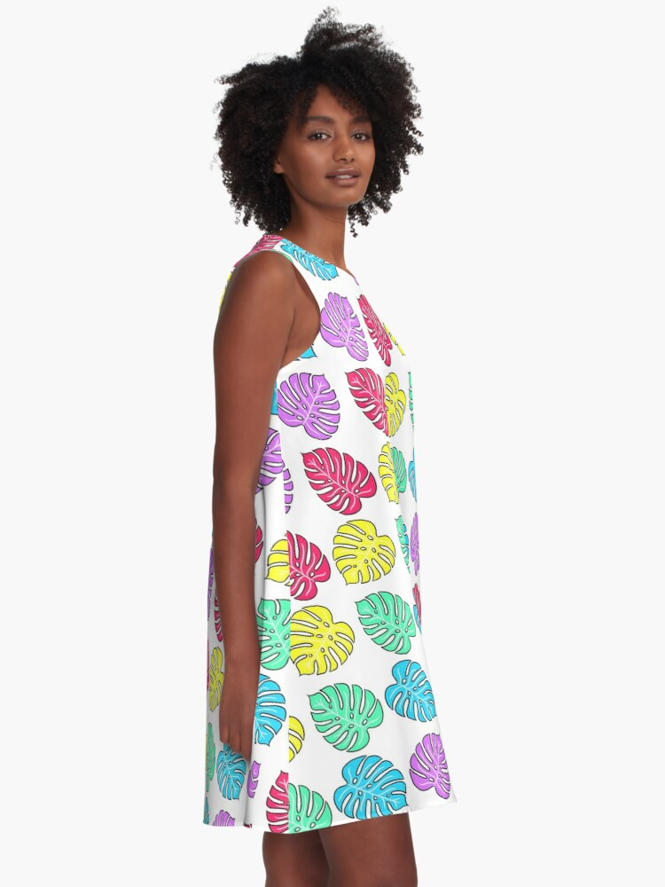 Alternate view of Rainbow Monstera Deliciosa A-Line Dress