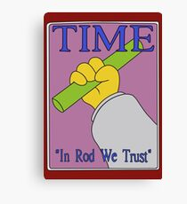 In Rod We Trust, Vector Recreation, Simpsons Time Cover Canvas Print