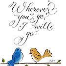 Wherever you go love birds typography quote by Melissa Goza