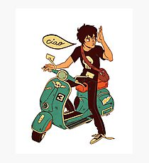 Nico di Angelo on a Vespa Ciao Photographic Print