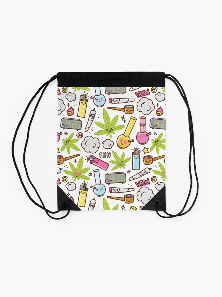 Alternate view of Kawaii marijuana / Cute weed Drawstring Bag