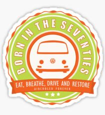 Retro Badge Seventies Orange Green Sticker