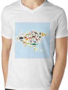 Eurasia Animal Map light blue Mens V-Neck T-Shirt