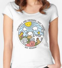 Animals are friends, not food. Go vegan!  Women's Fitted Scoop T-Shirt
