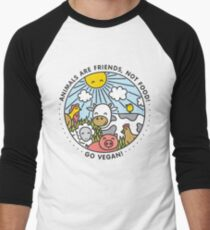 Animals are friends, not food. Go vegan!  Men's Baseball ¾ T-Shirt