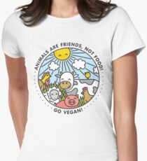 Animals are friends, not food. Go vegan!  Women's Fitted T-Shirt