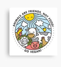 Animals are friends, not food. Go vegan!  Canvas Print