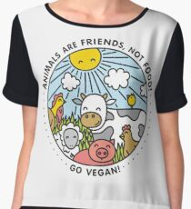 Animals are friends, not food. Go vegan!  Women's Chiffon Top