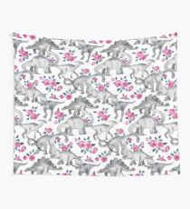 Dinosaurs and Roses – white Wall Tapestry