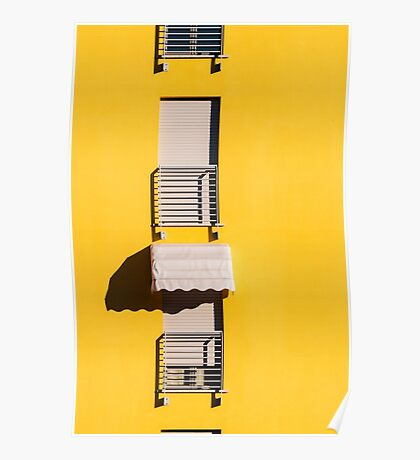 Window with sunshade on a yellow wall Poster