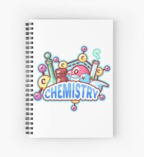 Chemistry title with chemical elements and flasks Spiral Notebook