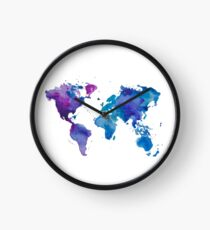 Watercolor Map of the World Clock