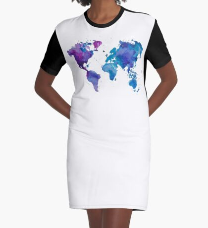 Watercolor Map of the World Graphic T-Shirt Dress