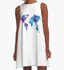Watercolor Map of the World A-Line Dress