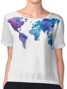 Watercolor Map of the World Chiffon Top