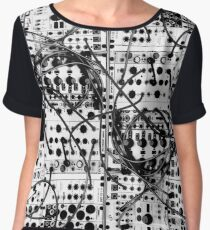 analog synthesizer modular system - black and white illustration Women's Chiffon Top