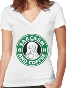 Sarcasm and Coffee Women's Fitted V-Neck T-Shirt