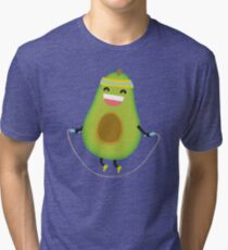 Cute kawaii fitness avocado rope jumping Tri-blend T-Shirt