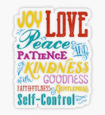 Love Joy Peace Patience Kindness Goodness Typography Art Transparent Sticker