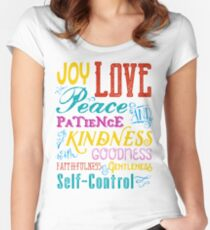 Love Joy Peace Patience Kindness Goodness Typography Art Fitted Scoop T-Shirt