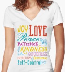Love Joy Peace Patience Kindness Goodness Typography Art Women's Fitted V-Neck T-Shirt