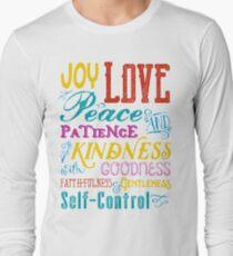 Love Joy Peace Patience Kindness Goodness Typography Art Long Sleeve T-Shirt