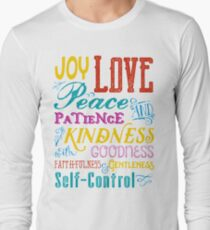 Love Joy Peace Patience Kindness Goodness Typography Art Long Sleeve T-Shirt