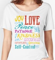 Love Joy Peace Patience Kindness Goodness Typography Art Relaxed Fit T-Shirt