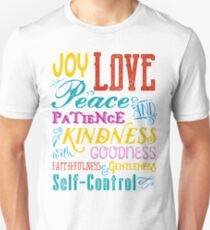 Love Joy Peace Patience Kindness Goodness Typography Art Unisex T-Shirt