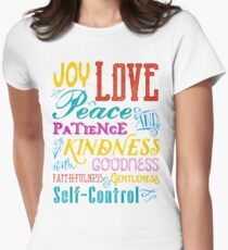 Love Joy Peace Patience Kindness Goodness Typography Art Women's Fitted T-Shirt
