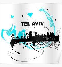 Art skyline of the Mediterranean Sea, Tel Aviv, Israel  Poster