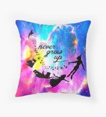 Never Grow U p Nebula Blue Throw Pillow
