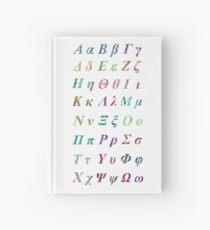 GREEK ALPHABET WHITE VERTICAL Hardcover Journal