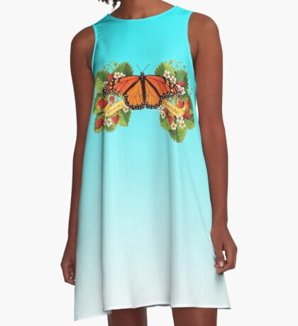 Monarch Butterfly with Strawberries A-Line Dress