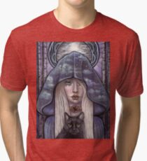 Nauthiz Rune Maiden black cat sorceress Tri-blend T-Shirt