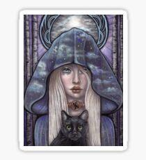 Nauthiz Rune Maiden black cat sorceress Sticker
