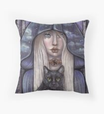 Nauthiz Rune Maiden black cat sorceress Throw Pillow