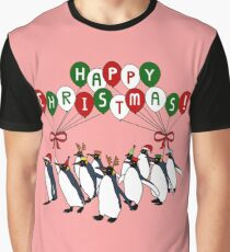 Happy Christmas March of Penguins Graphic T-Shirt