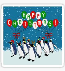 Happy Christmas March of Penguins Sticker