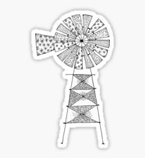 Patchwork Windmill Black  Sticker