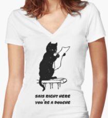 black cat reading kitty illustration animal pet cute for girls girly Women's Fitted V-Neck T-Shirt