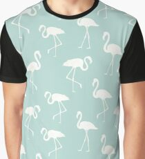 Flamingo Silhouettes, Pattern Of Flamingos - Blue Graphic T-Shirt