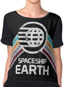 Vintage Spaceship Earth with Distressed Logo in Retro Style Chiffon Top