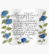 Marriage wedding vows typography quote Poster
