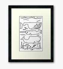 Geometric whales ocean art sea lover illustration Framed Print