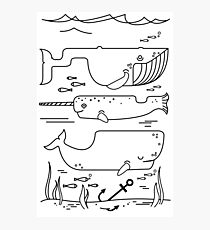 Geometric whales ocean art sea lover illustration Photographic Print