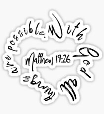 Matthew 19:26 Bible Quote Love Heart Sticker