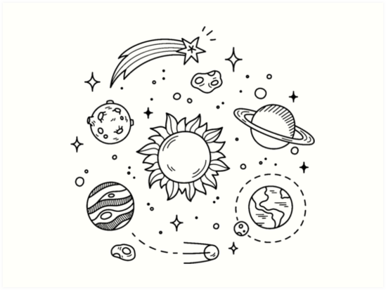 """Space Tumblr Drawing"" Art Prints By GlennStevens"