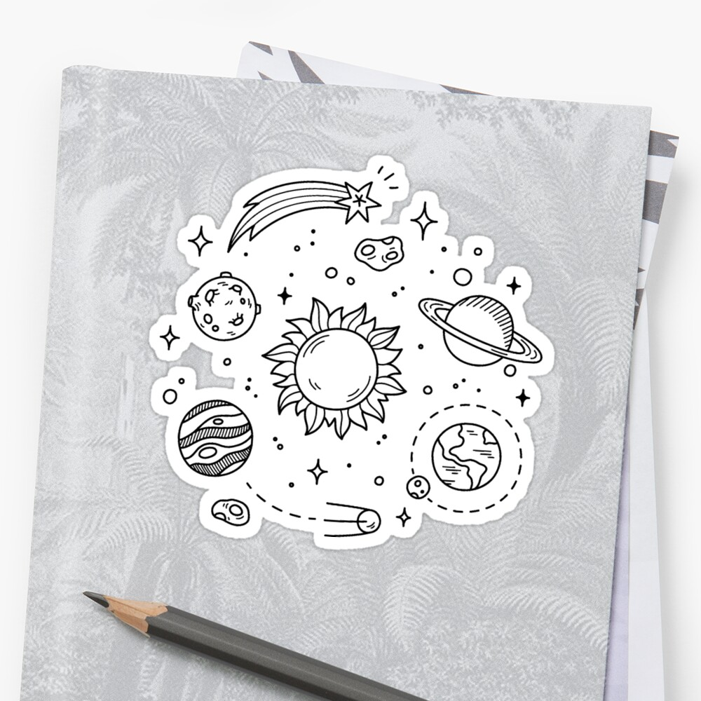 Space tumblr drawing stickers by glennstevens redbubble for Small drawing ideas